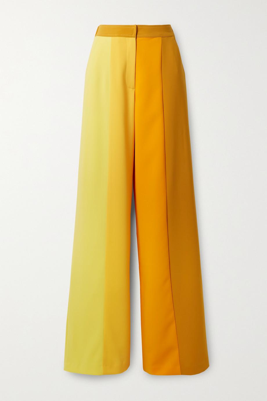 Christopher John Rogers Hose mit weitem Bein aus Stretch-Crêpe in Colour-Block-Optik