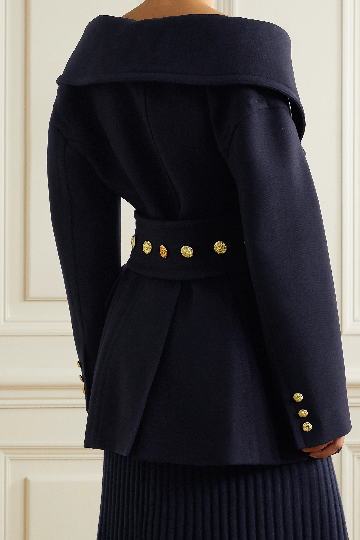 Valentino Manteau épaules nues à double boutonnage en serge de laine