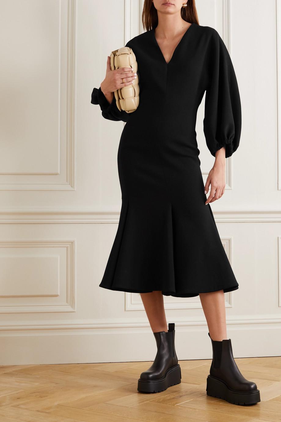 Valentino Robe midi en crêpe de laine mélangée