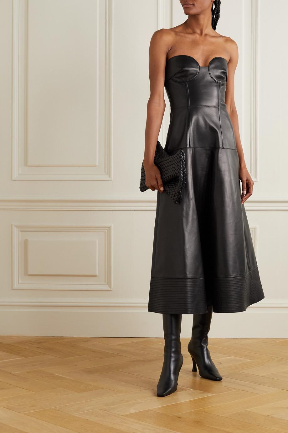 Valentino Robe midi bustier en cuir
