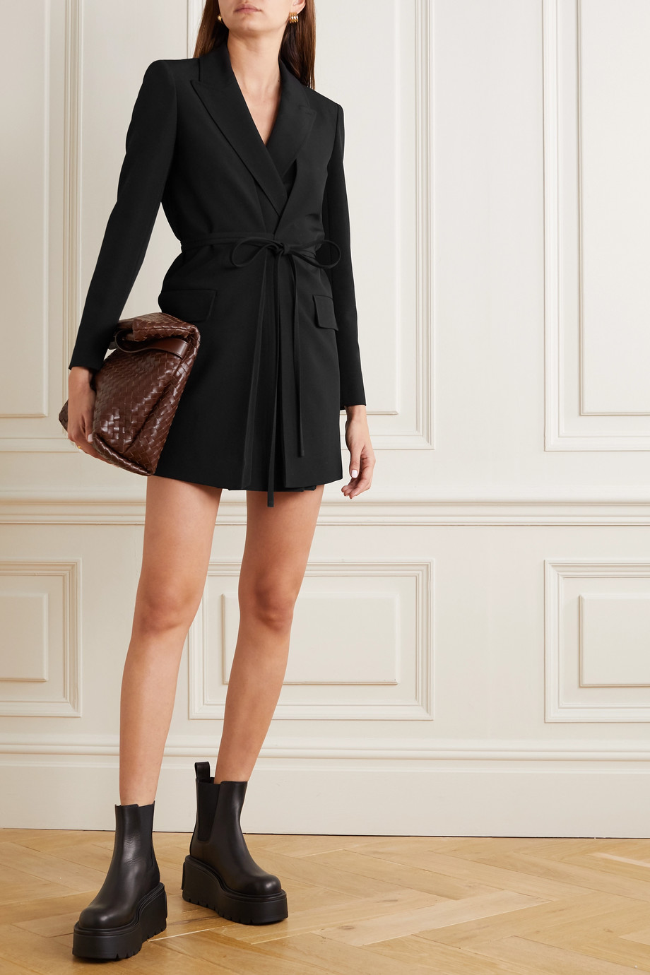 Valentino Belted wool-crepe wrap mini dress