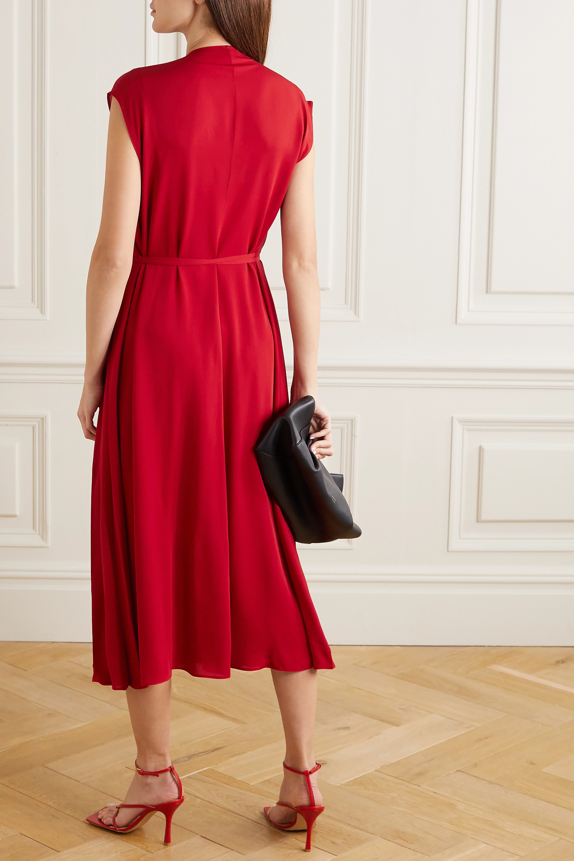 Valentino Tie-detailed pleated silk-georgette midi dress
