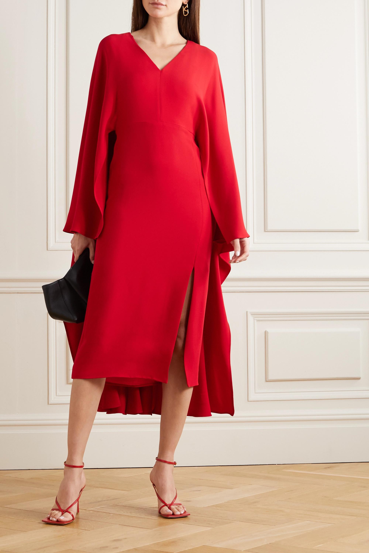 Valentino Cape-effect silk-crepe midi dress