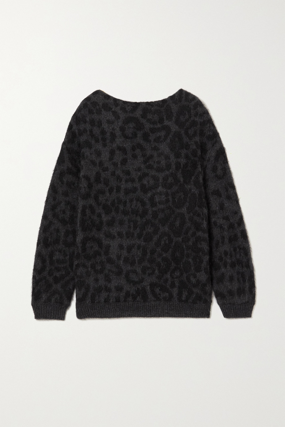 Valentino Off-the-shoulder mohair-blend leopard jacquard-knit sweater