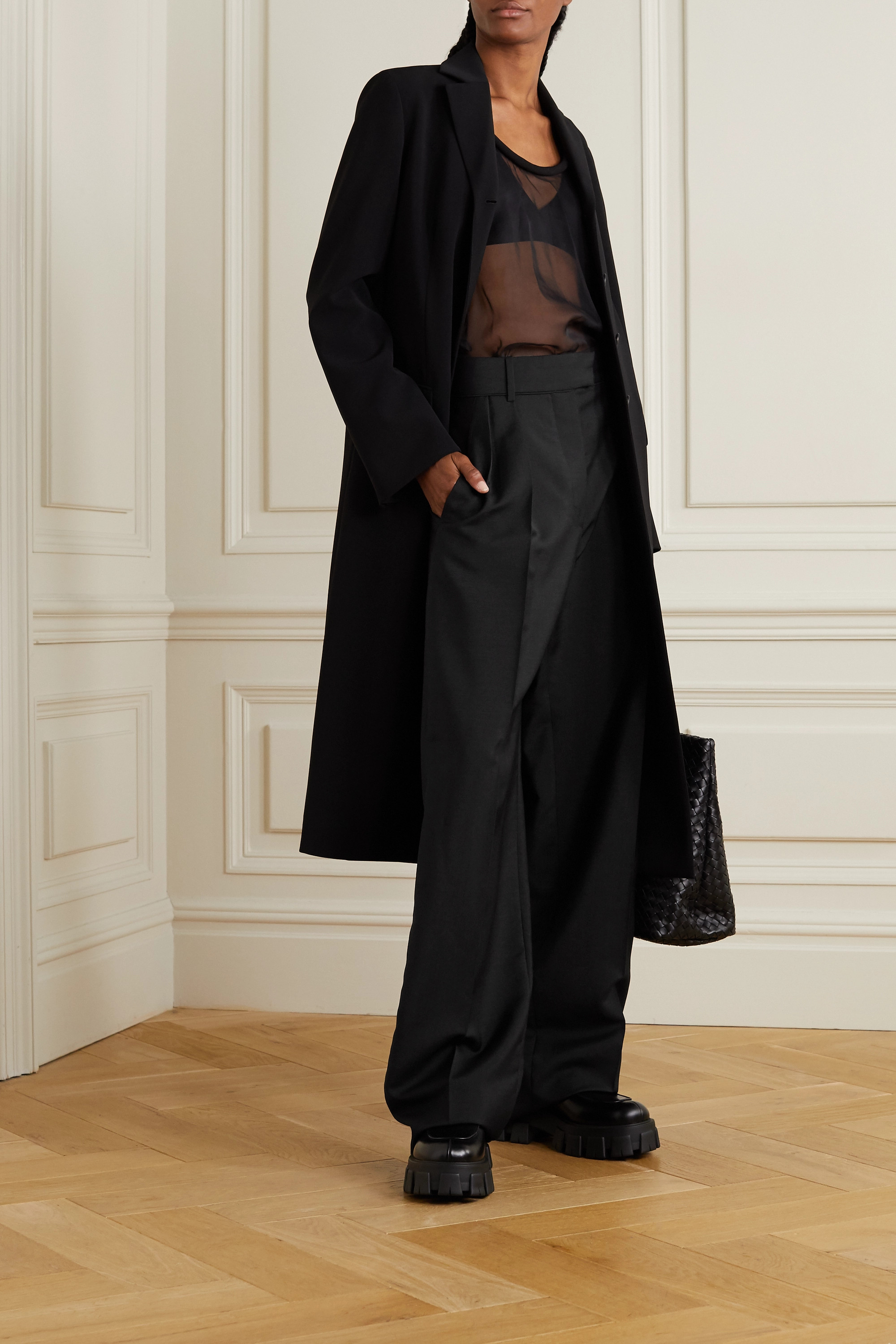 Valentino Pleated mohair and wool-blend wide-leg pants