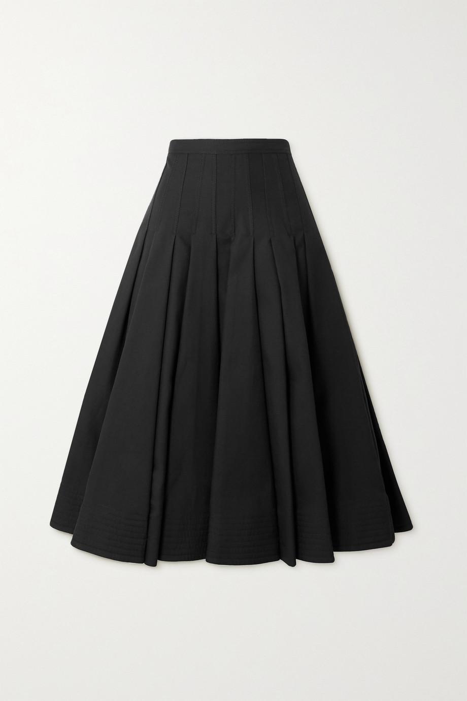 Valentino Pleated cotton silk-blend midi skirt