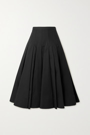 Valentino Pleated cotton silk-blend midi skirt