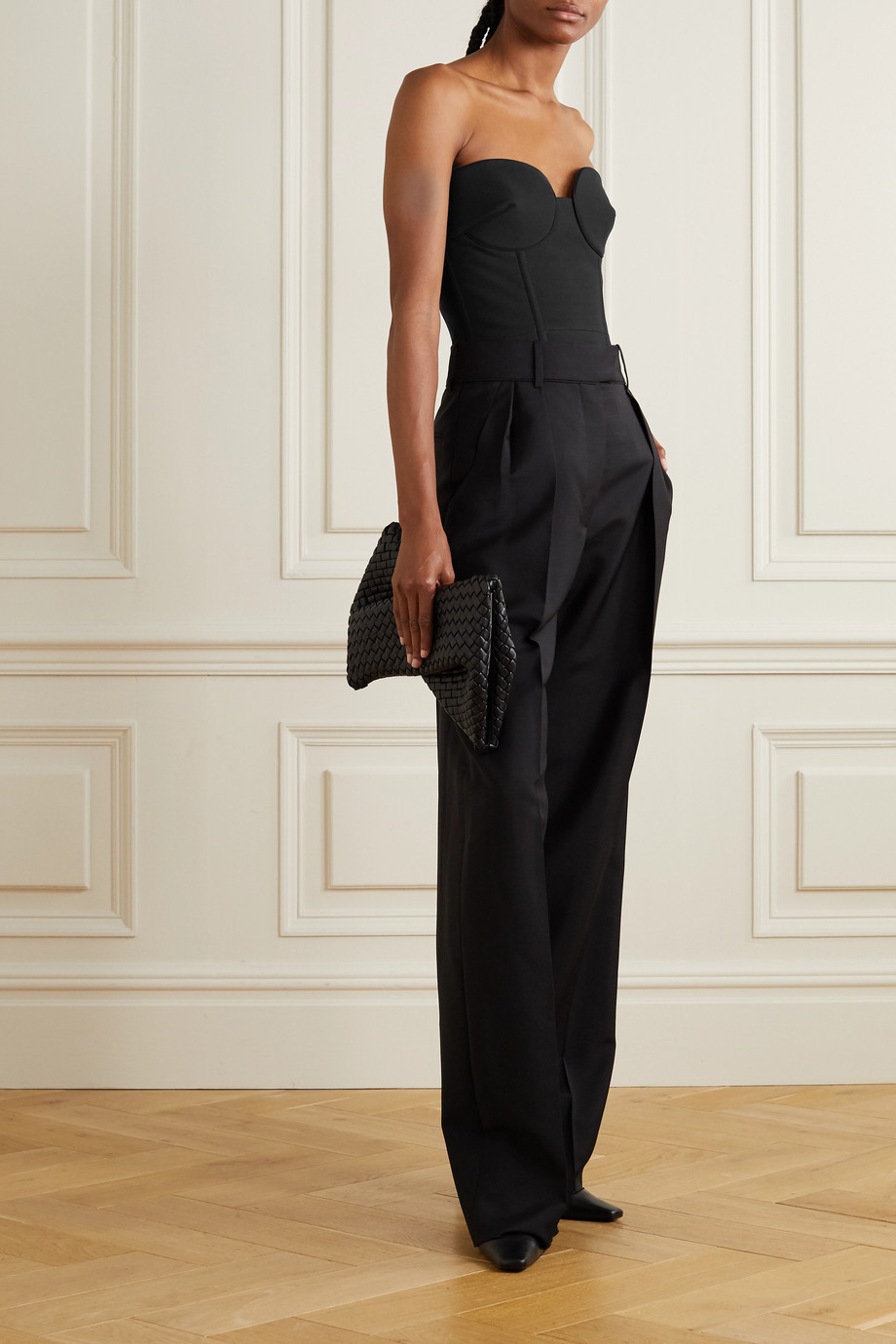 Valentino Wool and silk-blend bustier top