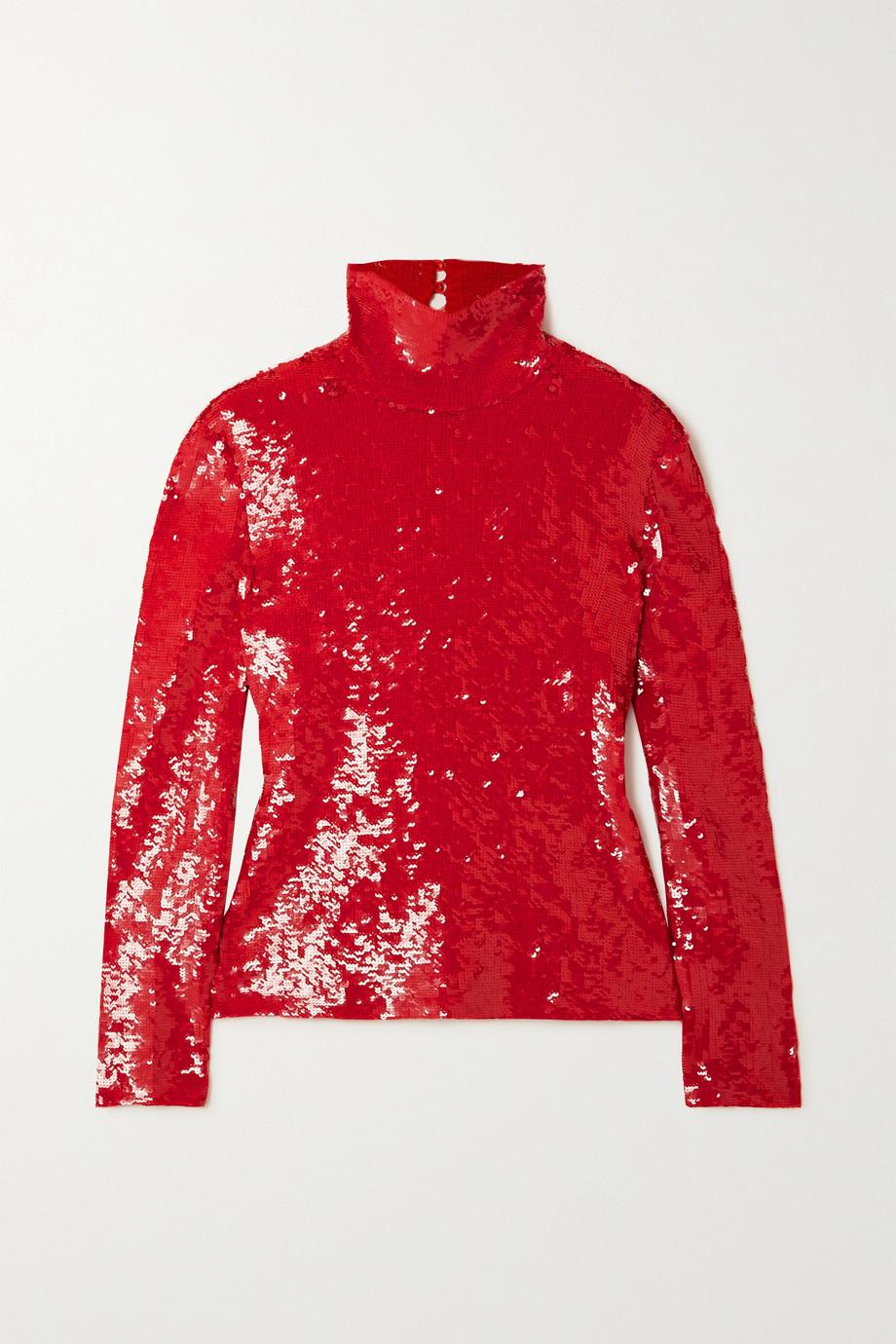 Valentino Haut à col montant en coton mélangé à sequins
