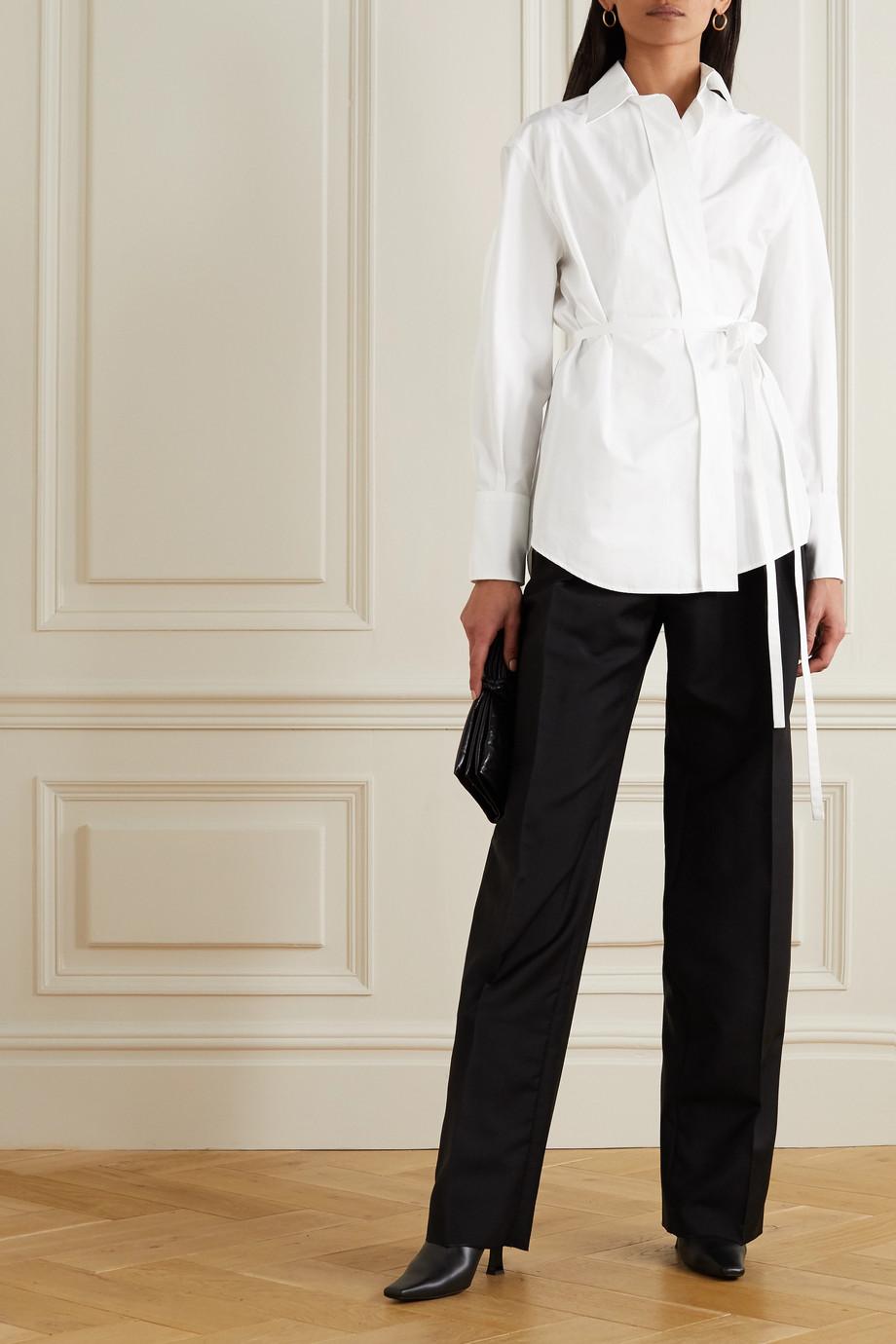 Valentino Cotton-poplin wrap shirt