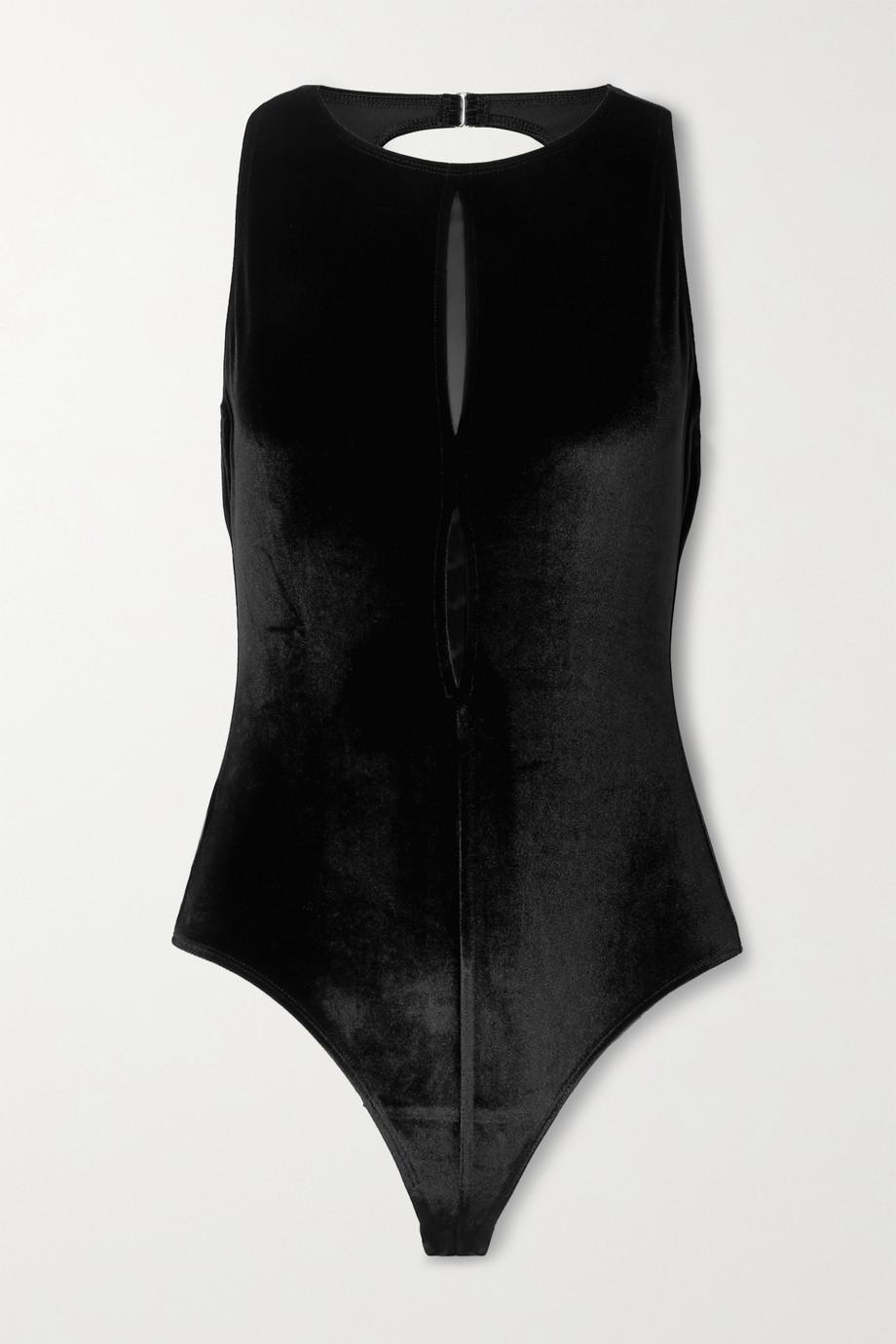 Marika Vera Charlize cutout velvet thong bodysuit