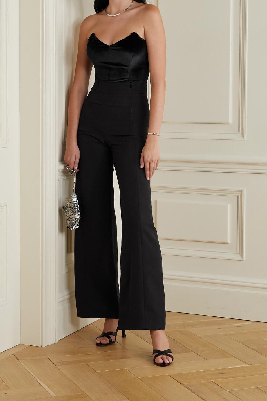 Marika Vera Angelina strapless velvet and stretch-jersey thong bodysuit