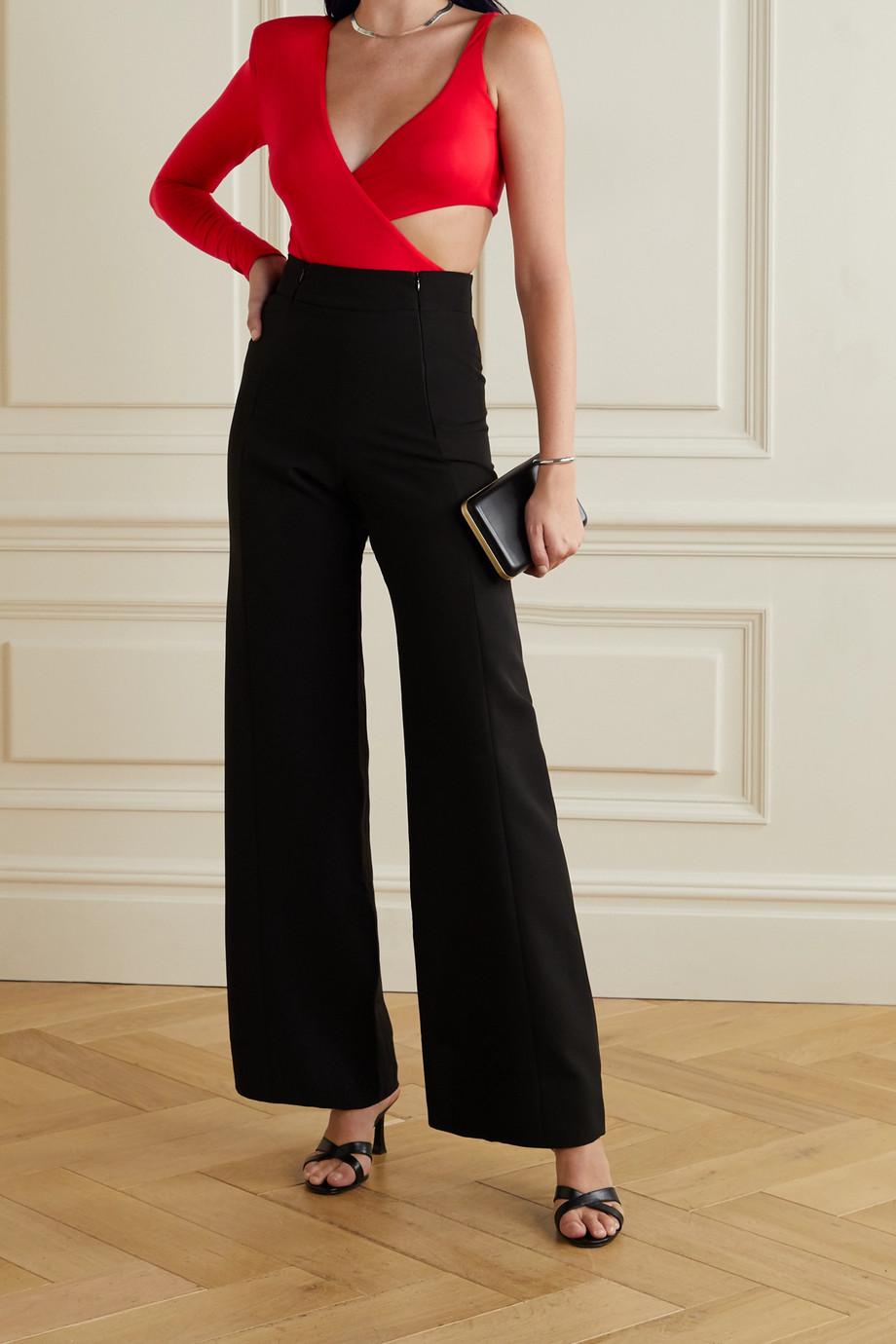Marika Vera Frances one-sleeve cutout jersey thong bodysuit