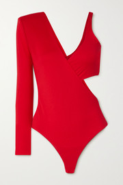 Marika Vera Frances one-sleeve cutout jersey thong bodysuit