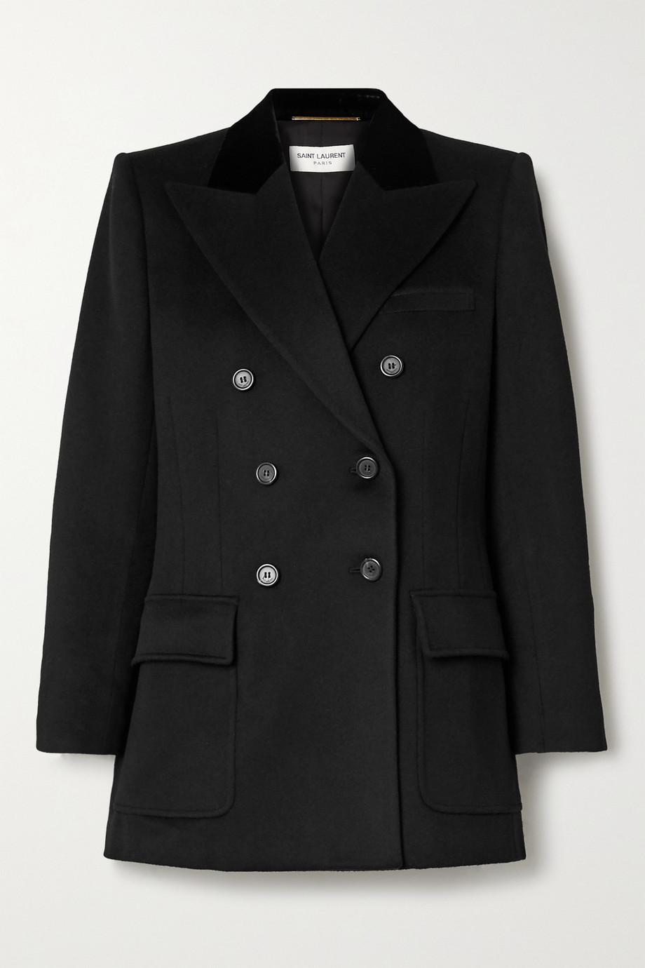 SAINT LAURENT Double-breasted velvet-trimmed wool and cashmere-blend blazer