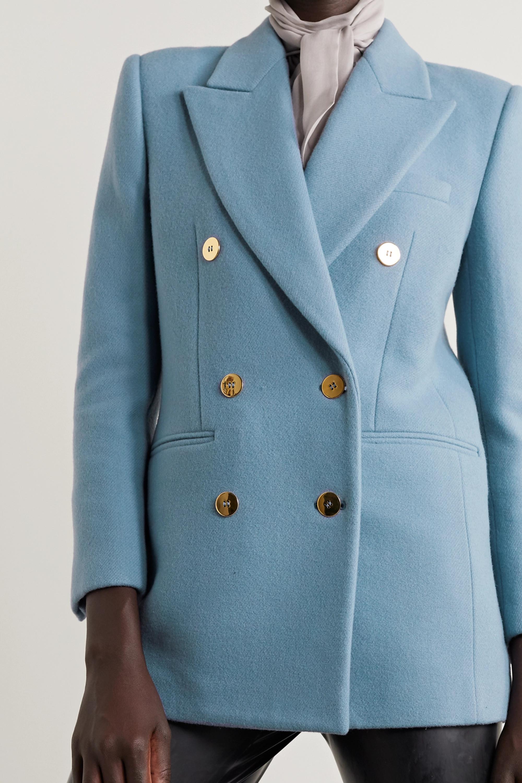 SAINT LAURENT Manteau à double boutonnage en laine et cachemire mélangés