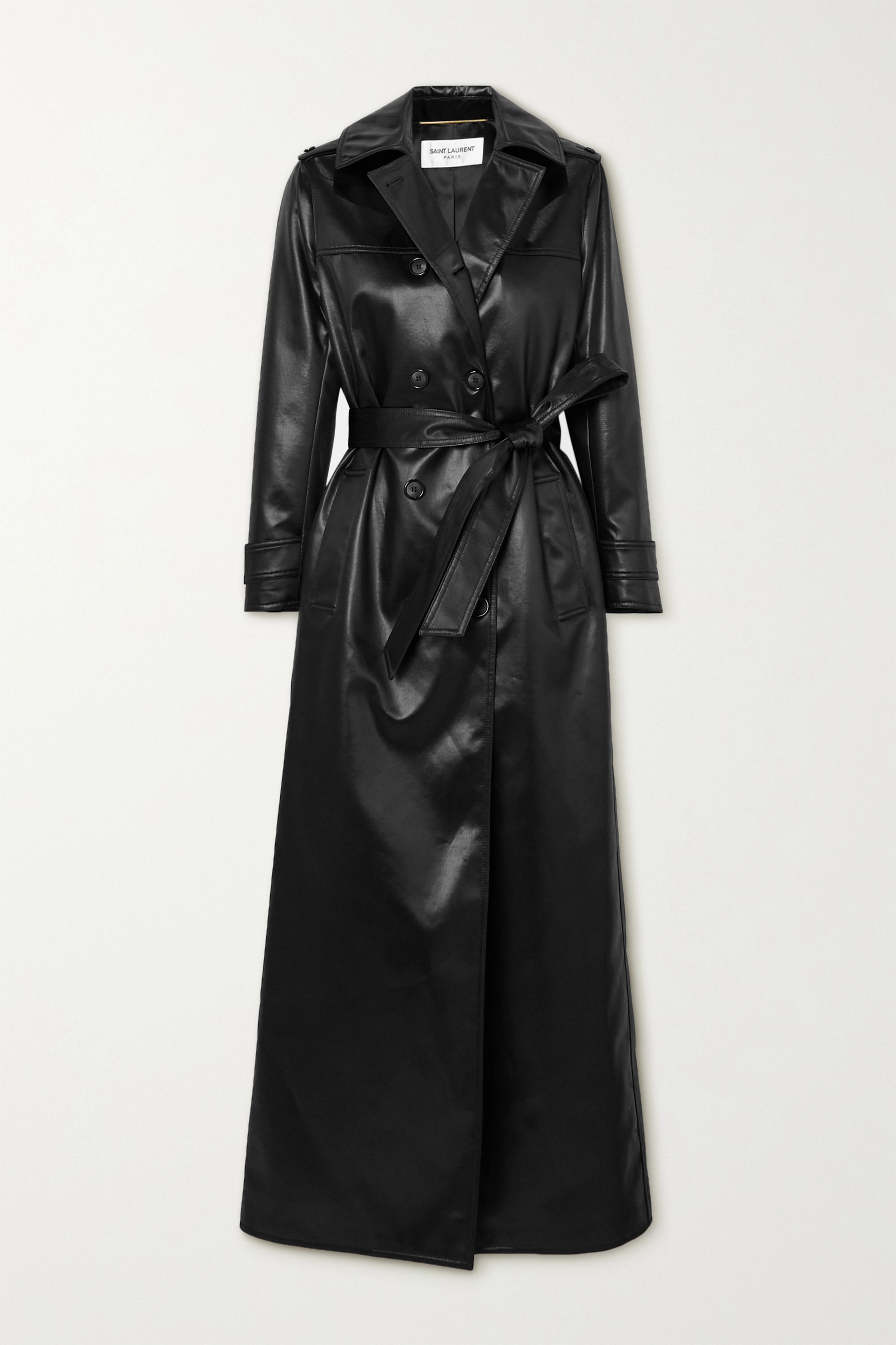 SAINT LAURENT Belted faux leather trench coat