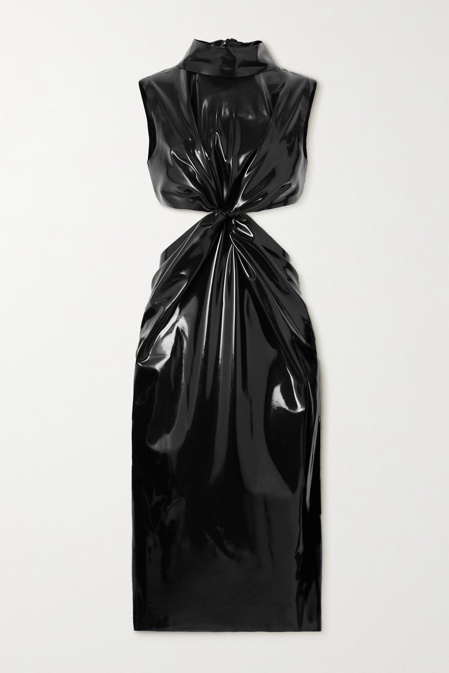 SAINT LAURENT Knotted cutout latex dress + Latex Care cleaning kit 3 x 30ml bottles (Vividress, Vivishine, Viviclean)