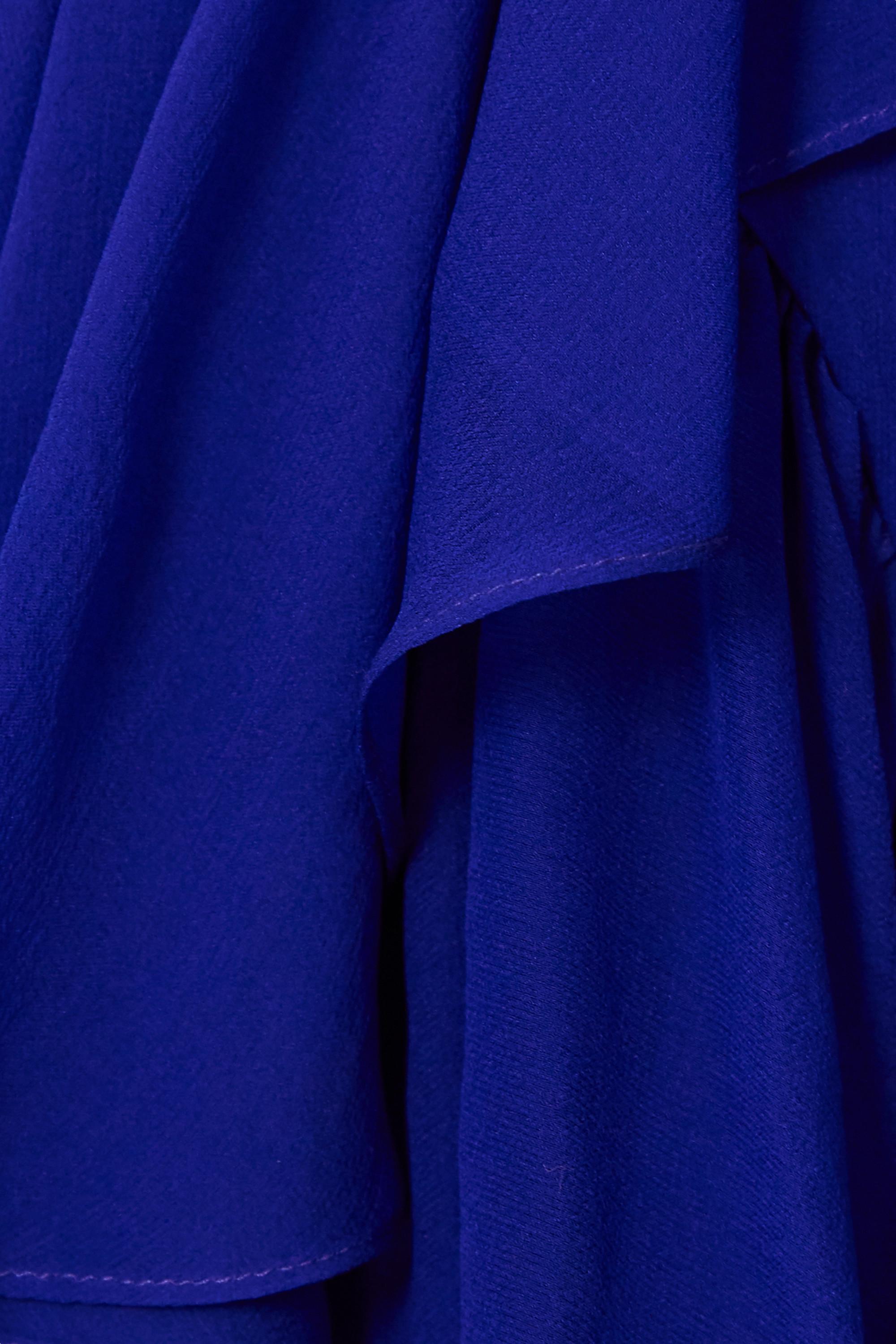 SAINT LAURENT Robe midi portefeuille en mousseline de soie à volants