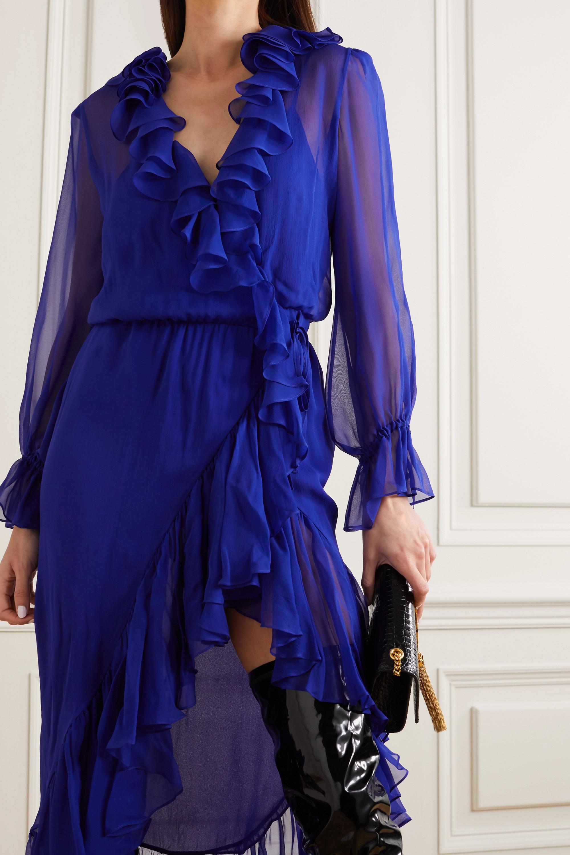 SAINT LAURENT Ruffled silk-chiffon wrap midi dress