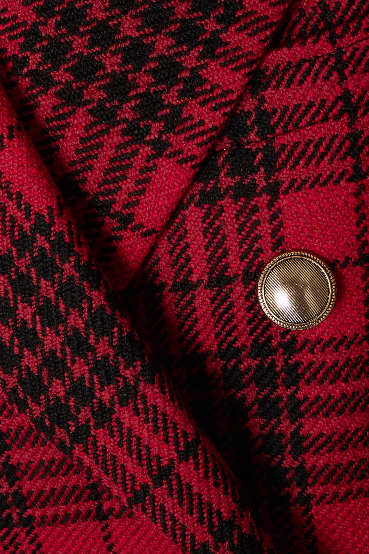 SAINT LAURENT Double-breasted velvet-trimmed checked wool blazer