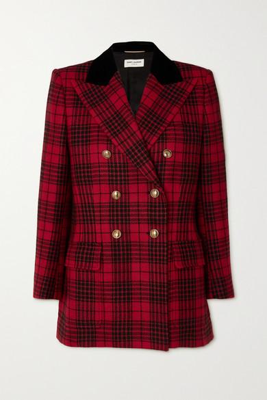 SAINT LAURENT - 双排扣天鹅绒边饰格纹羊毛西装外套 - 红色 - FR34