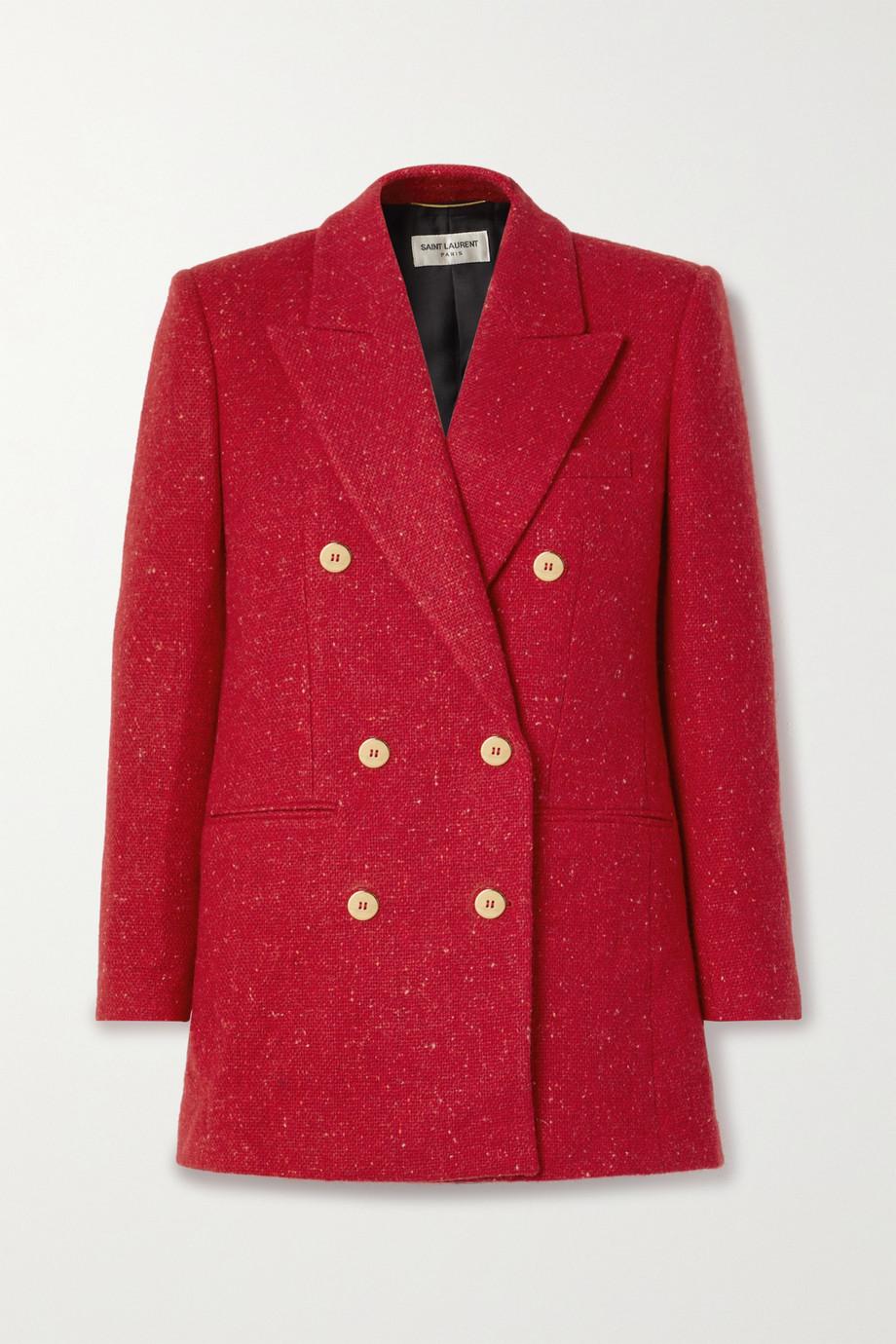 SAINT LAURENT Double-breasted wool-tweed blazer