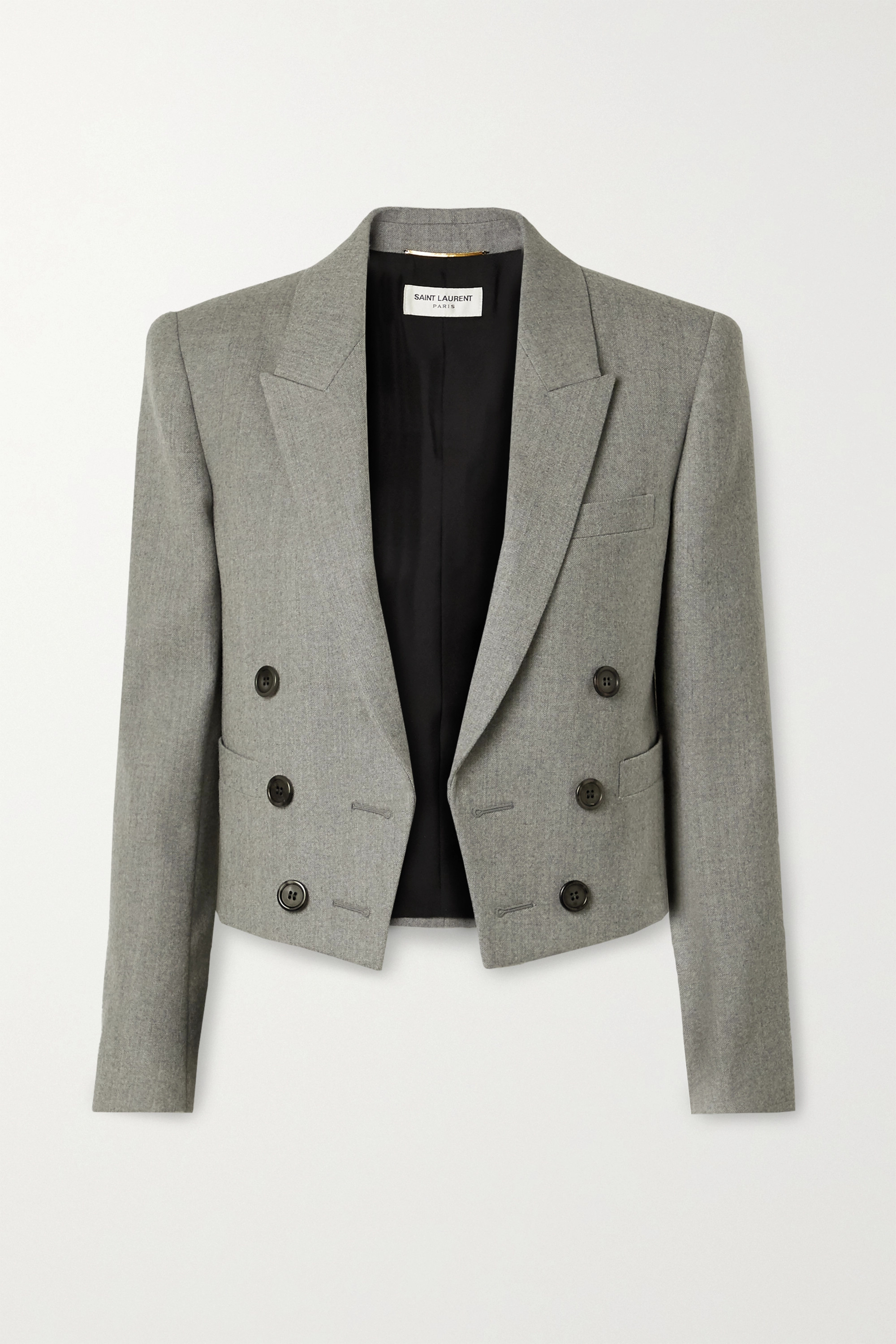 SAINT LAURENT Spencer cropped wool-twill blazer