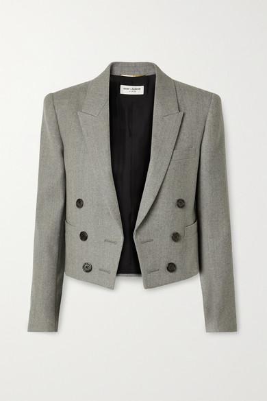 SAINT LAURENT - Spencer 羊毛斜纹布短款西装外套 - 灰色 - FR38