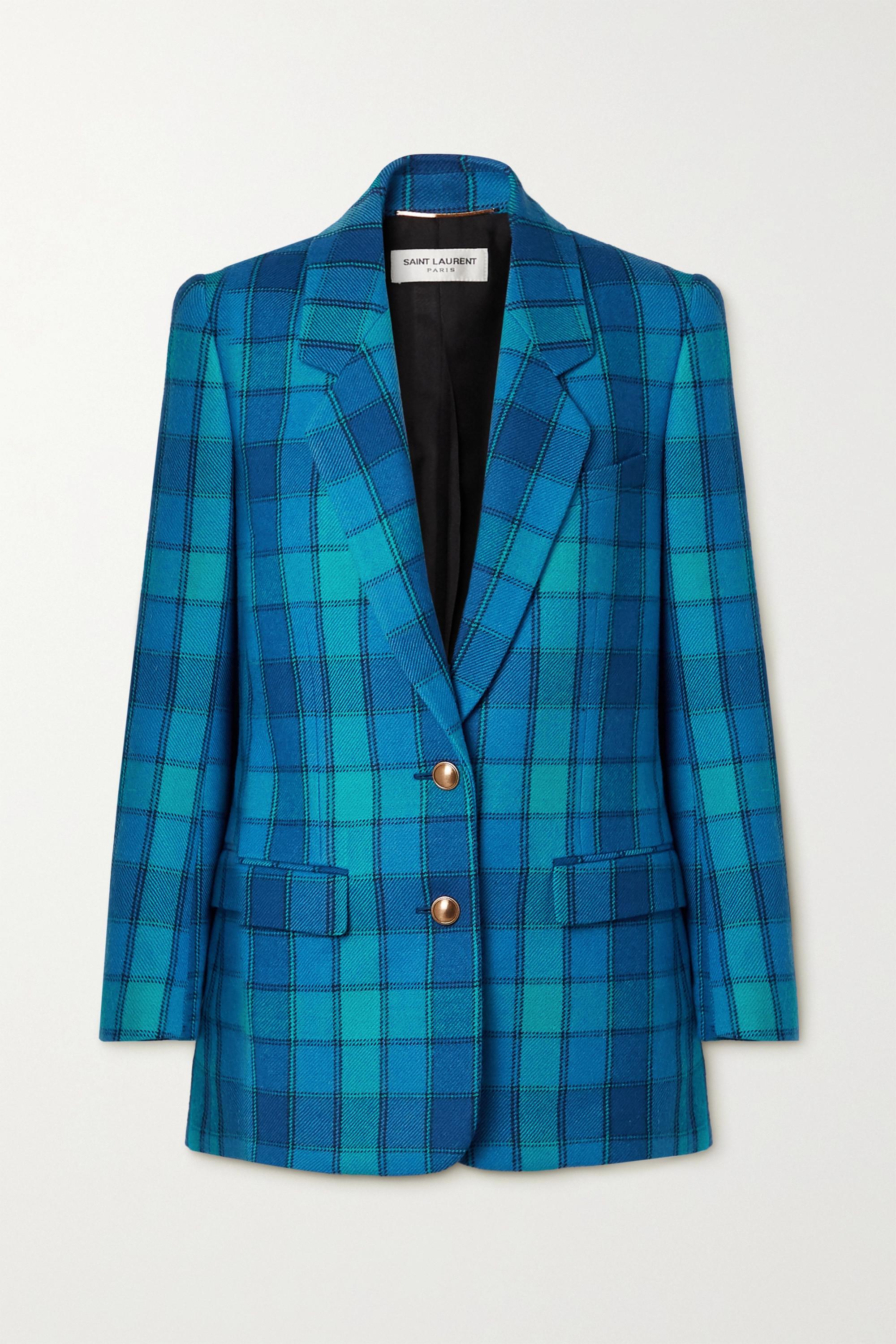 SAINT LAURENT Checked wool-twill blazer
