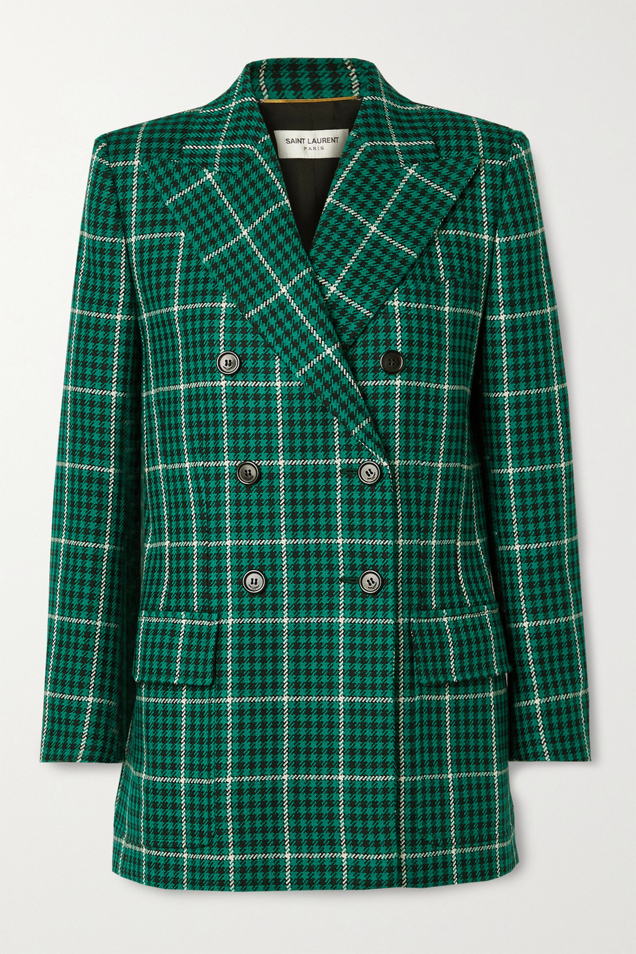 SAINT LAURENT Double-breasted checked wool blazer