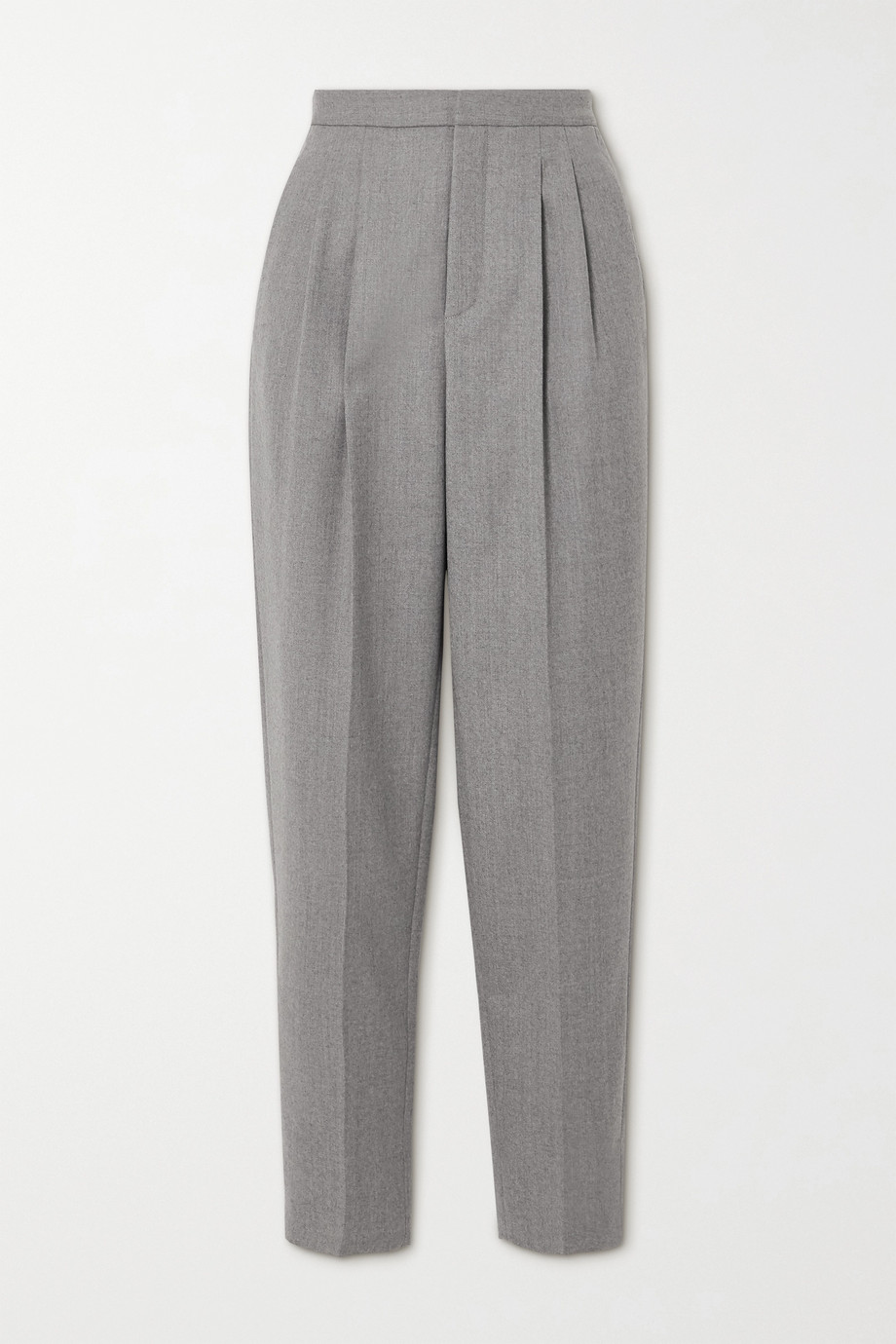 SAINT LAURENT Pleated wool-twill tapered pants