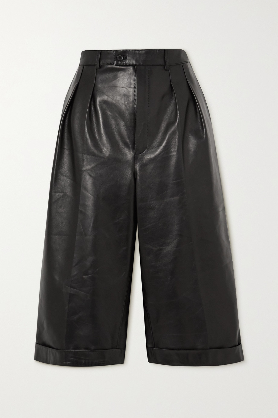 SAINT LAURENT Pleated leather shorts