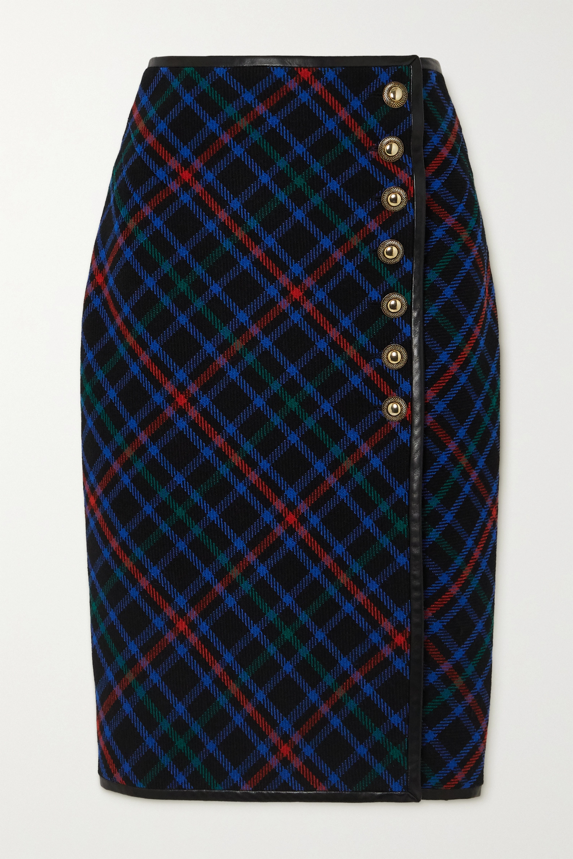 SAINT LAURENT Leather-trimmed checked wool-twill skirt