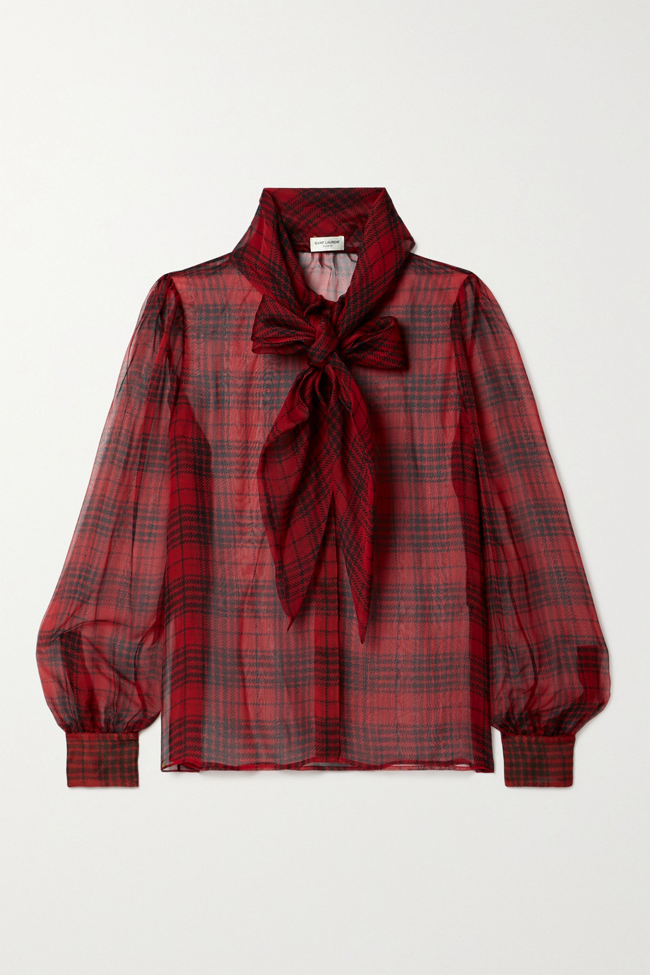 SAINT LAURENT Pussy-bow checked silk-chiffon blouse