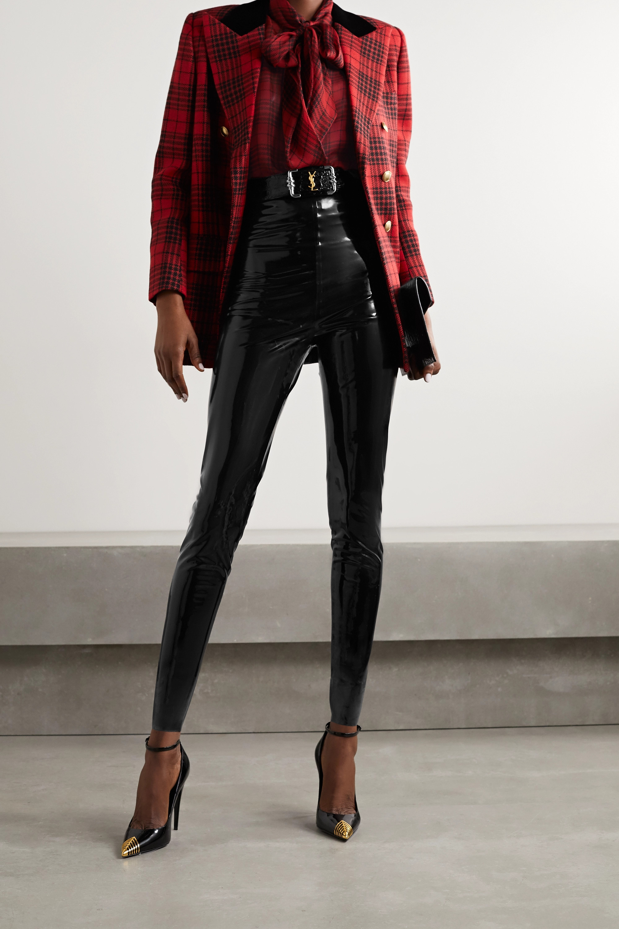 SAINT LAURENT Pussy-bow checked silk-chiffon blouse