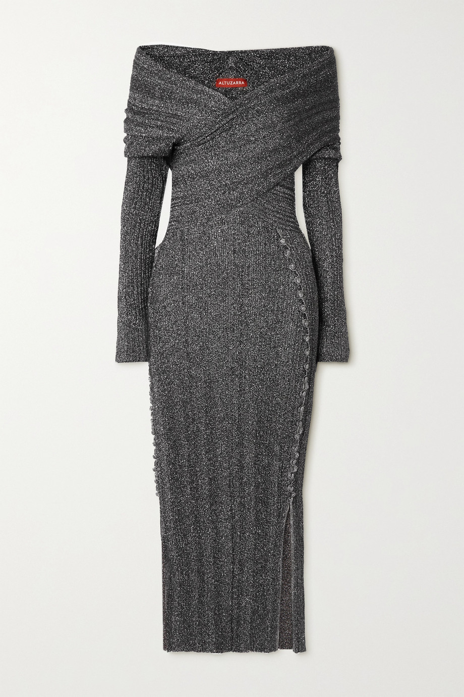 Altuzarra Mattie off-the-shoulder metallic stretch-knit midi dress