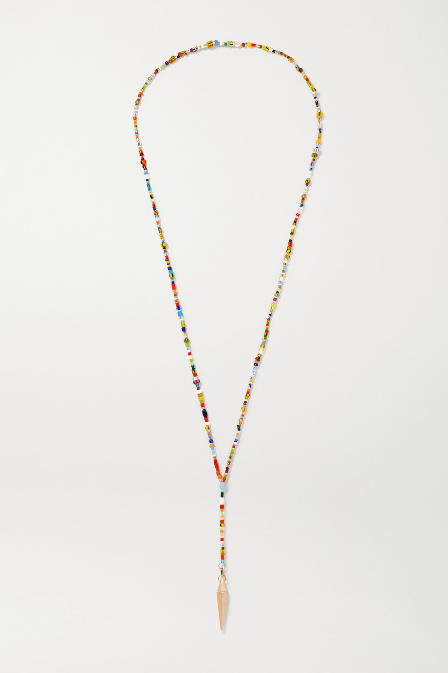 Diane Kordas 18-karat rose gold, bead and diamond necklace