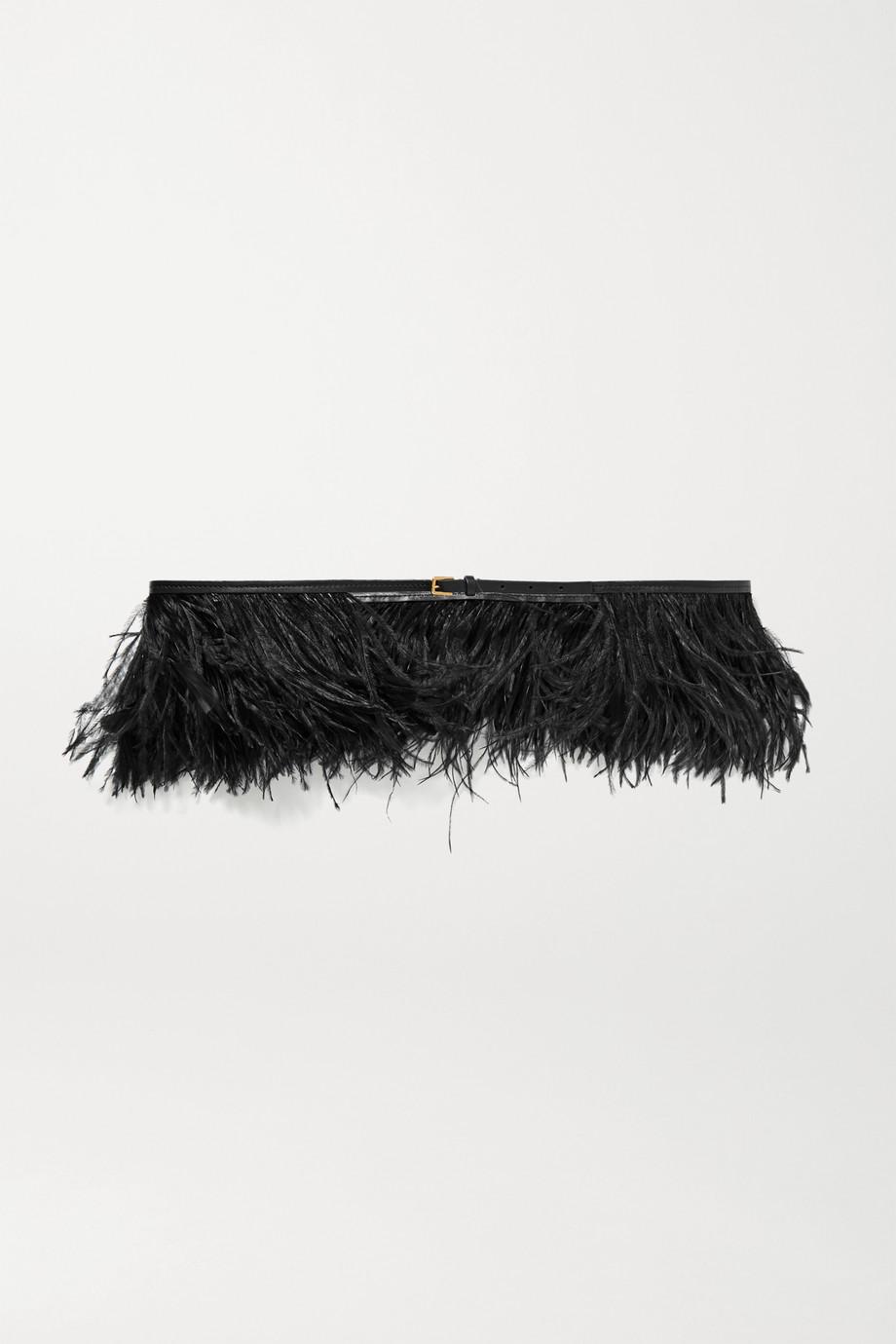 Altuzarra Feather-embellished leather belt