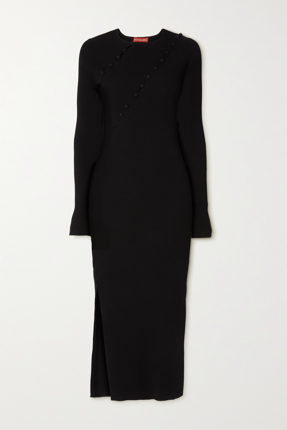 Altuzarra Evelyn button-embellished cutout ribbed-knit midi dress