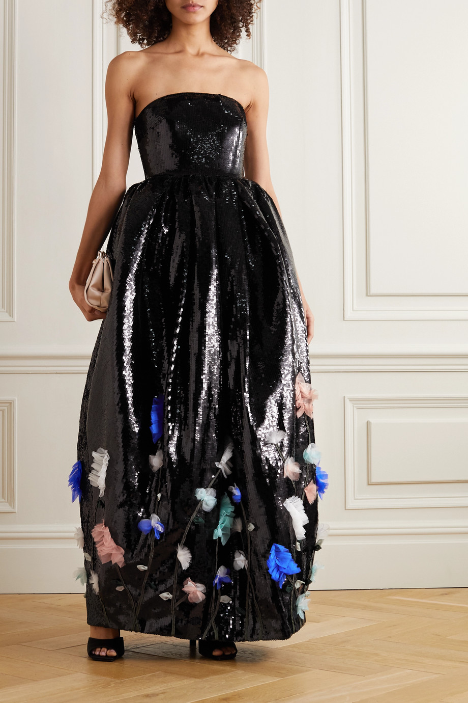 Huishan Zhang Filomena strapless appliquéd sequined tulle gown