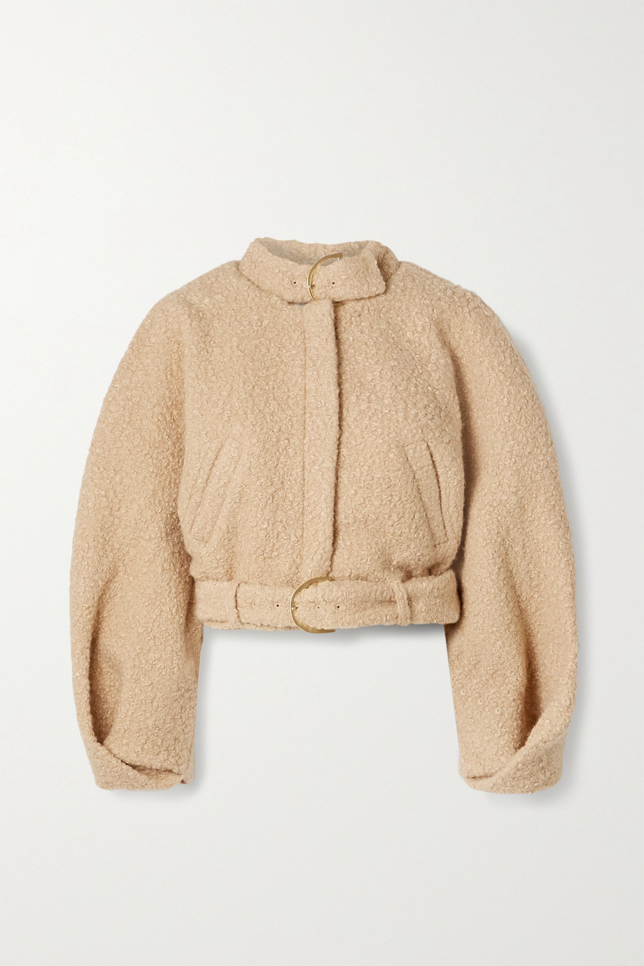 Cult Gaia Joan buckled cropped bouclé bomber jacket