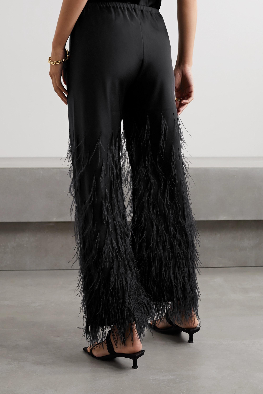 Cult Gaia Karis feather-embellished satin-crepe straight-leg pants