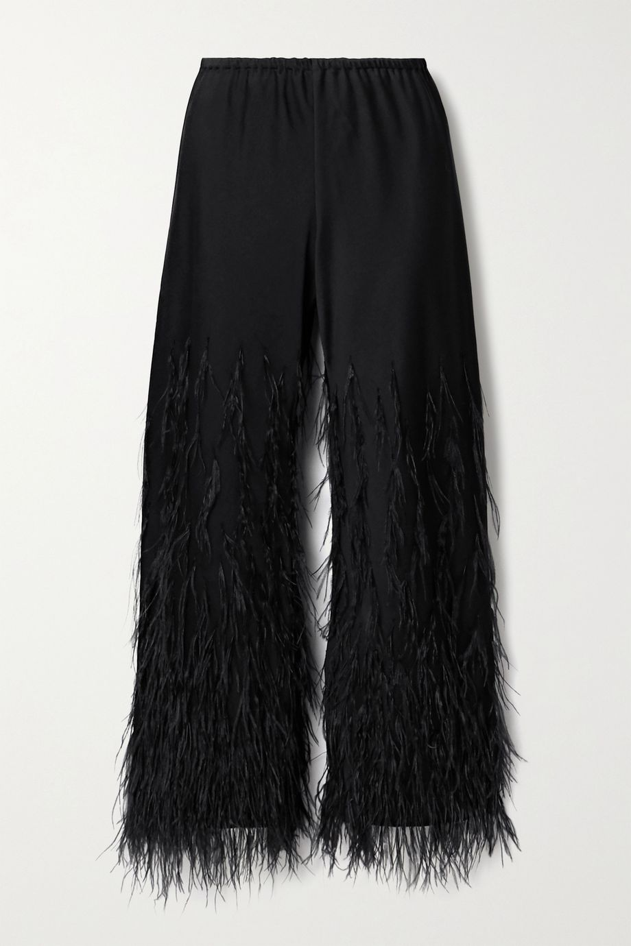 Cult Gaia Karis feather-embellished satin-crepe straight-leg pants