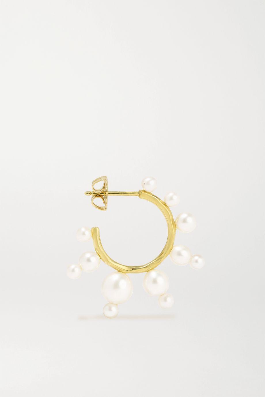 Ippolita Nova 18-karat gold pearl hoop earrings