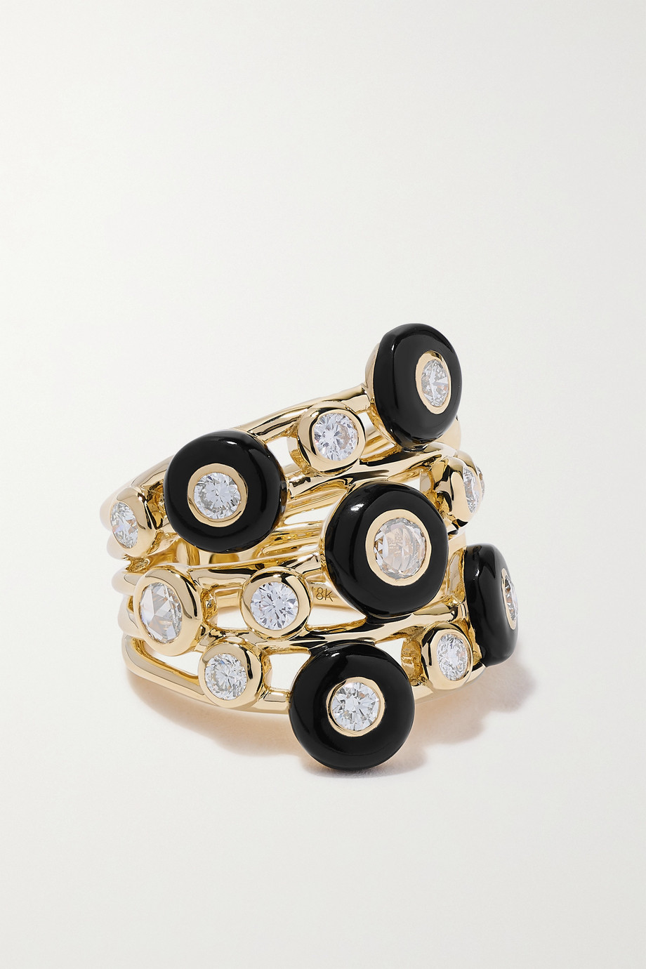 Ippolita Bague en or 18 carats, céramique et diamants Lollipop Carnevale