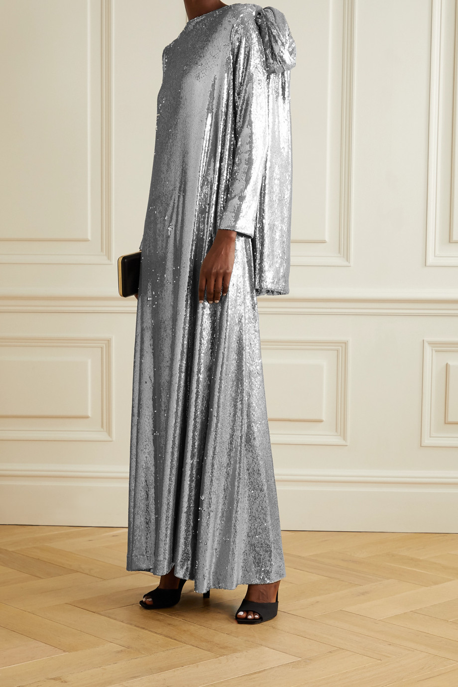 BERNADETTE Richard draped sequined jersey gown