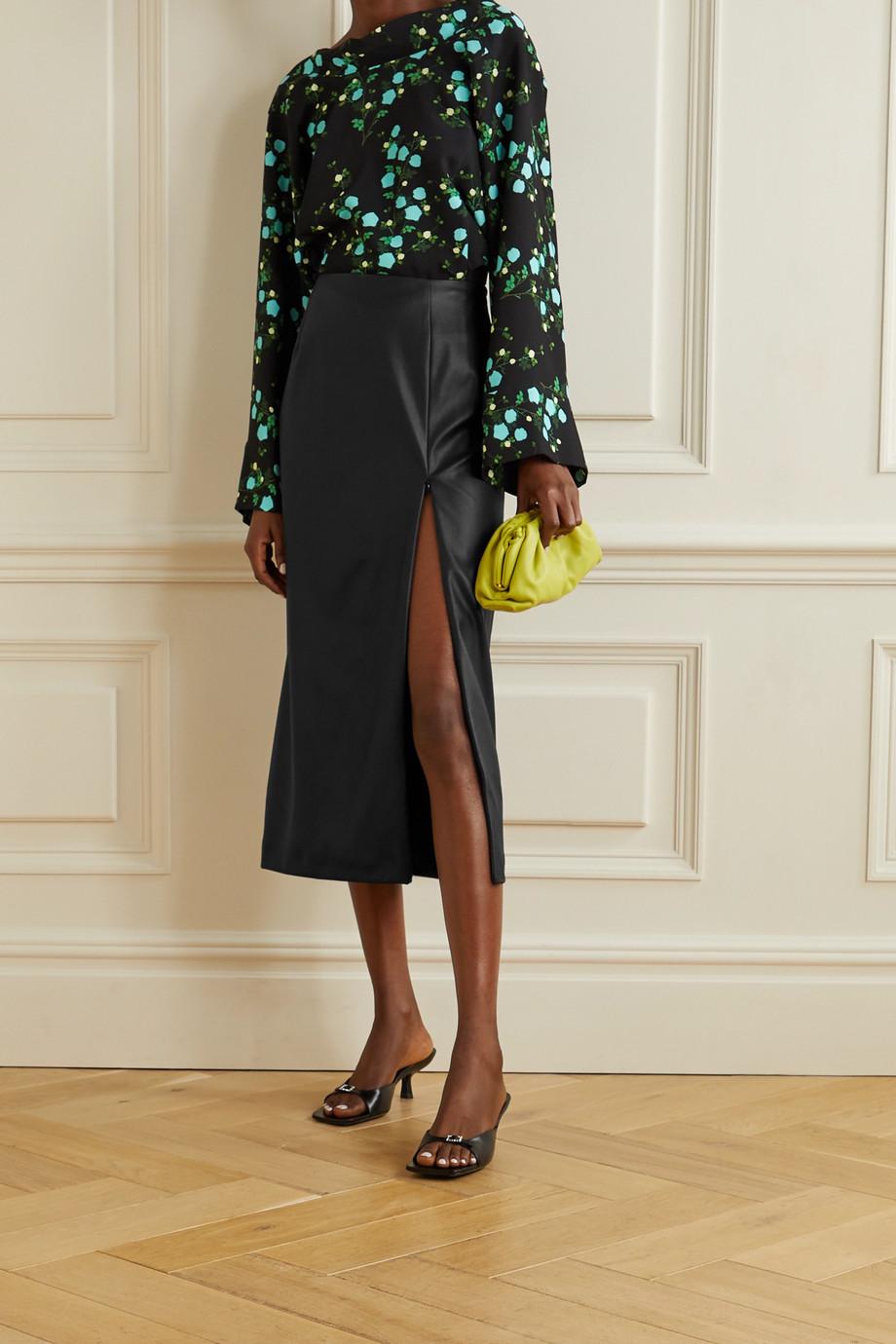 BERNADETTE Scarlet faux leather midi skirt