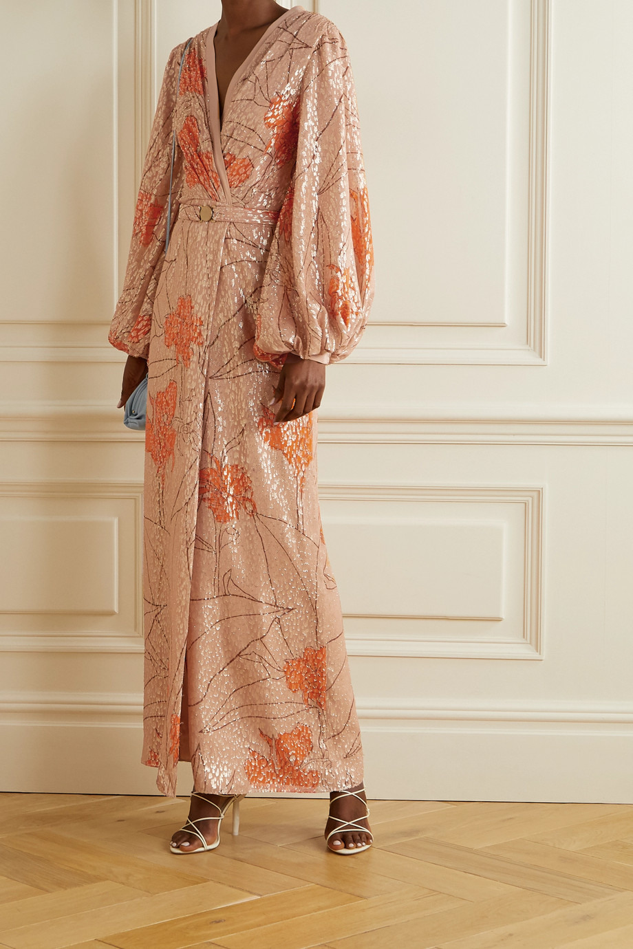 Johanna Ortiz + NET SUSTAIN Bella Illusion belted printed fil coupé silk-blend maxi dress