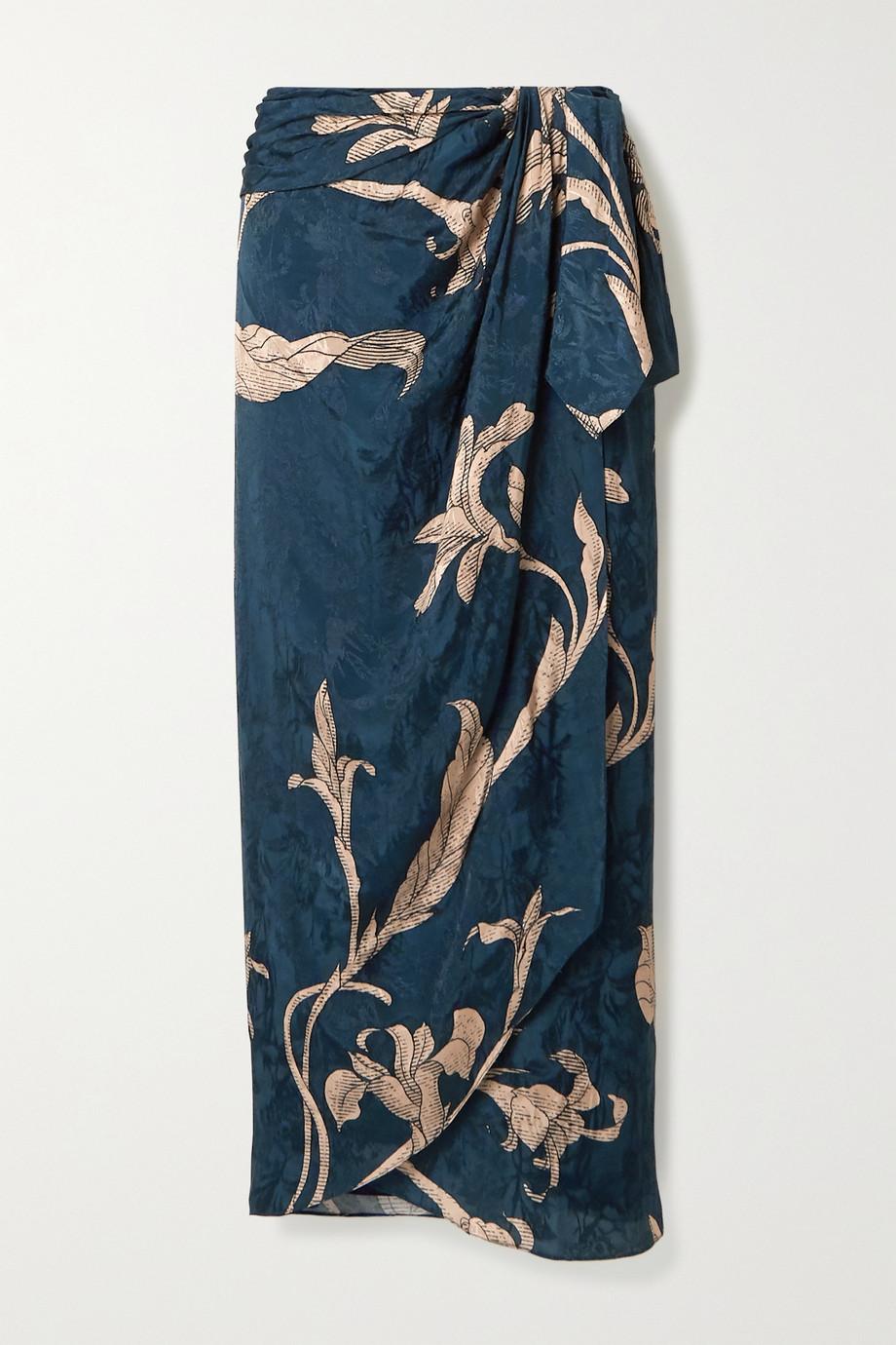 Johanna Ortiz + NET SUSTAIN Tide of Love Wickelrock aus glänzendem Jacquard mit Blumenprint